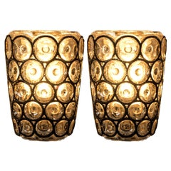 Pair of Circle Iron and Bubble Glass Sconces Wall Lamps by Limburg Germany, 1960