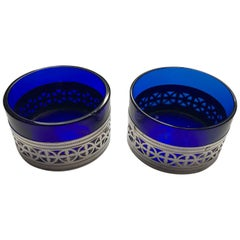 Pair of Circular Filigree Silver Salts with Blue Liners