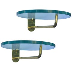 Pair of Circular Glass and Brass Display Shelves, 20th Century European