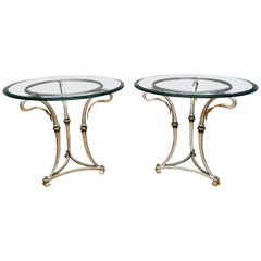 Pair of Circular Italian Leaf Side Tables