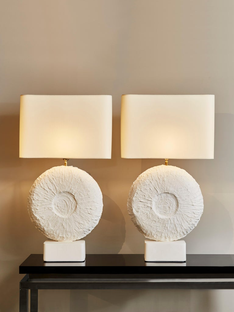 Modern Pair of Circular Plaster Table Lamps For Sale
