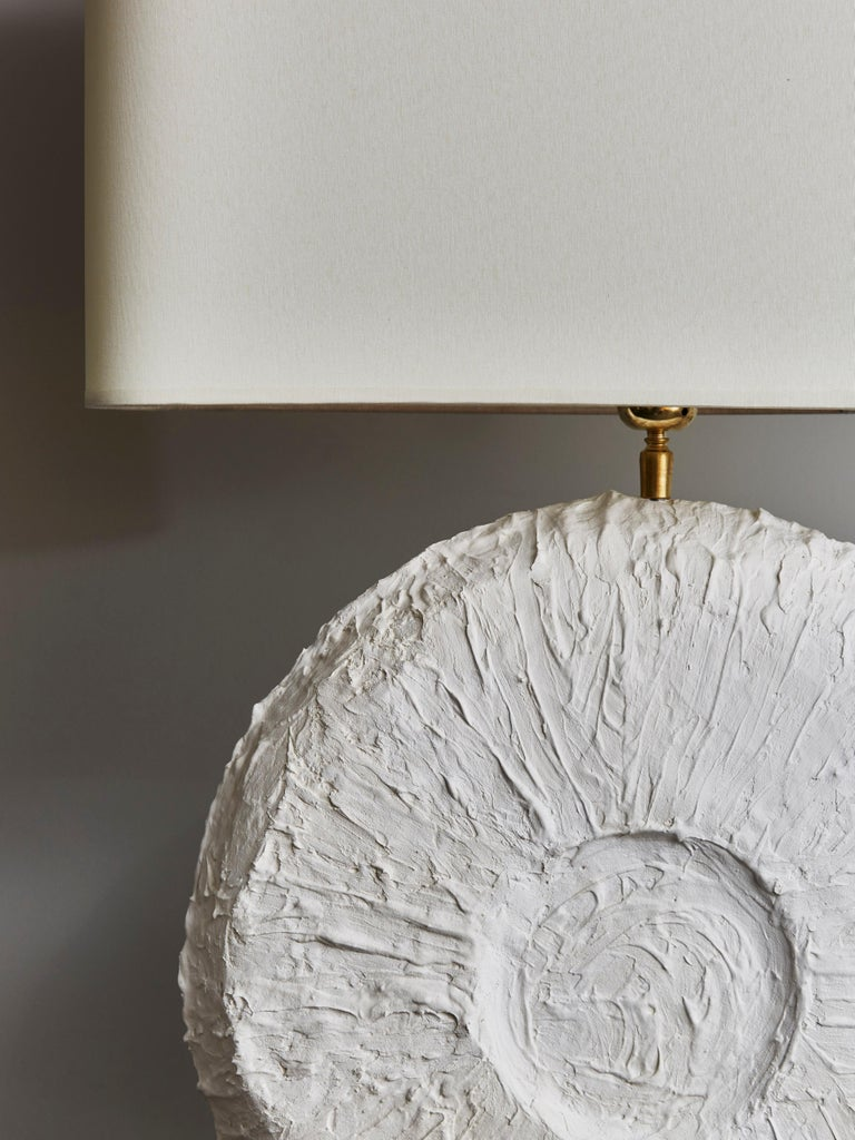 French Pair of Circular Plaster Table Lamps For Sale