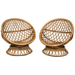 Pair of Circular Rattan Saucer Chairs