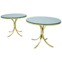 Pair of Circular Side Tables Brass & Mirror Glass by Münchner Werkstätten, 1960s