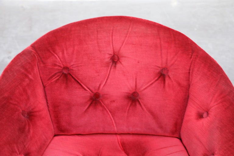 Pair of Circular Swivel Lounge Chairs by Oddmund Vad, 1970s, Signed For Sale 4