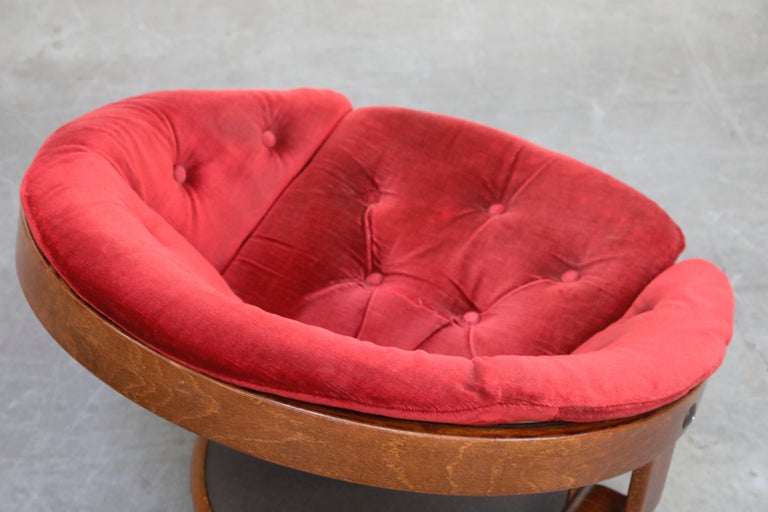 Pair of Circular Swivel Lounge Chairs by Oddmund Vad, 1970s, Signed For Sale 11