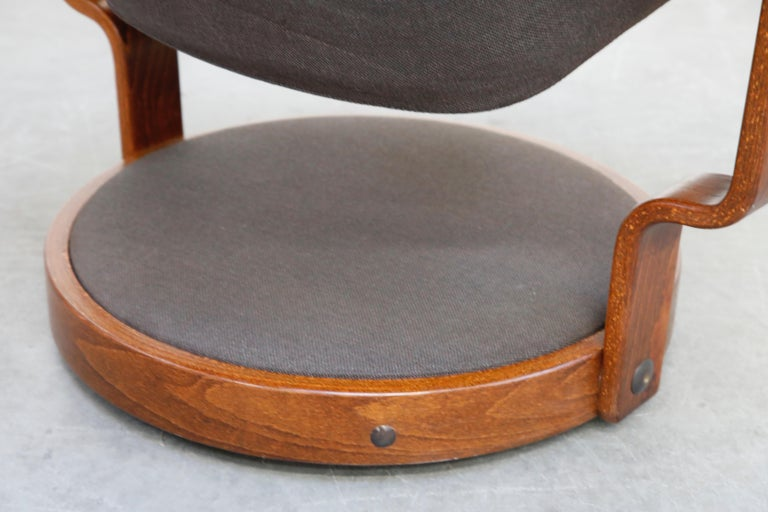 Pair of Circular Swivel Lounge Chairs by Oddmund Vad, 1970s, Signed For Sale 12
