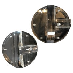 Pair of Circular Thick Lucite Wall Shelves