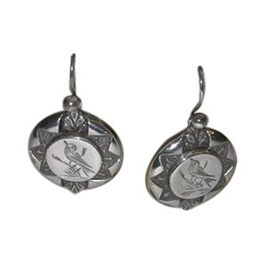 Pair of Circular Victorian Silver Earrings, Dated 1880