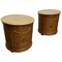 Pair of Circular Woven Cane Nightstands