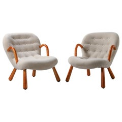 Pair of Clam Chairs by Philip Arctander 1944 in Bespoke Mohair Velvet
