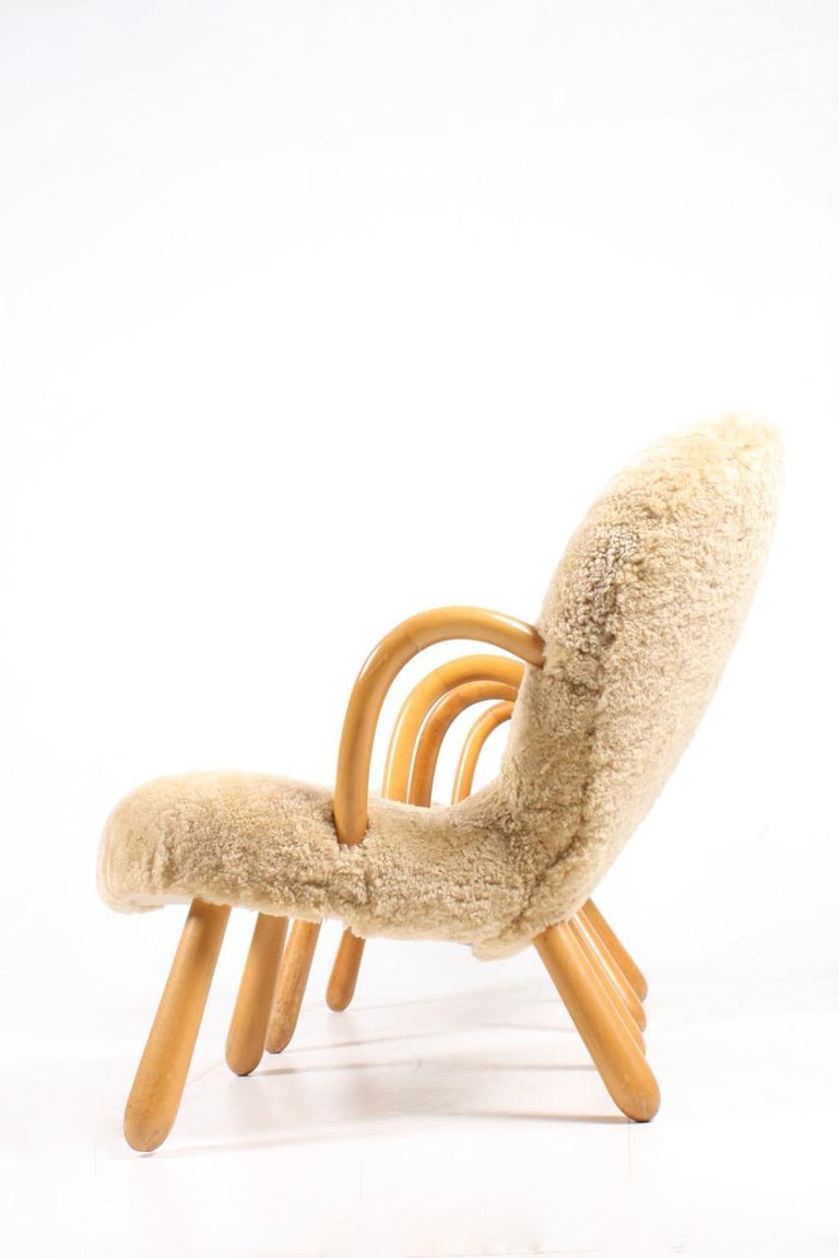 Scandinavian Modern Pair of Vintage Clam Chairs by Philip Arctander, Danish modern 1940s