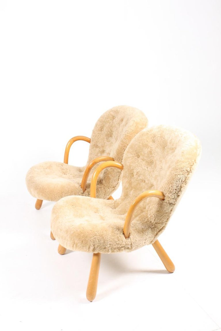 Pair of Vintage Clam Chairs by Philip Arctander, Danish modern 1940s In Good Condition In Lejre, DK