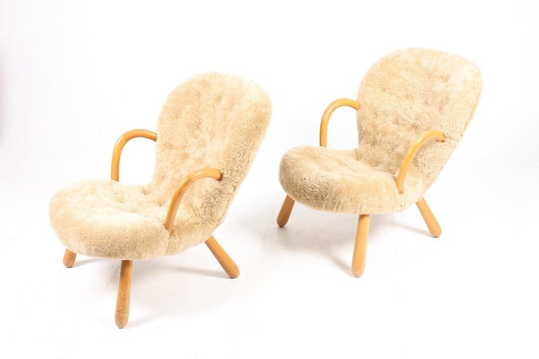 Beech Pair of Vintage Clam Chairs by Philip Arctander, Danish modern 1940s