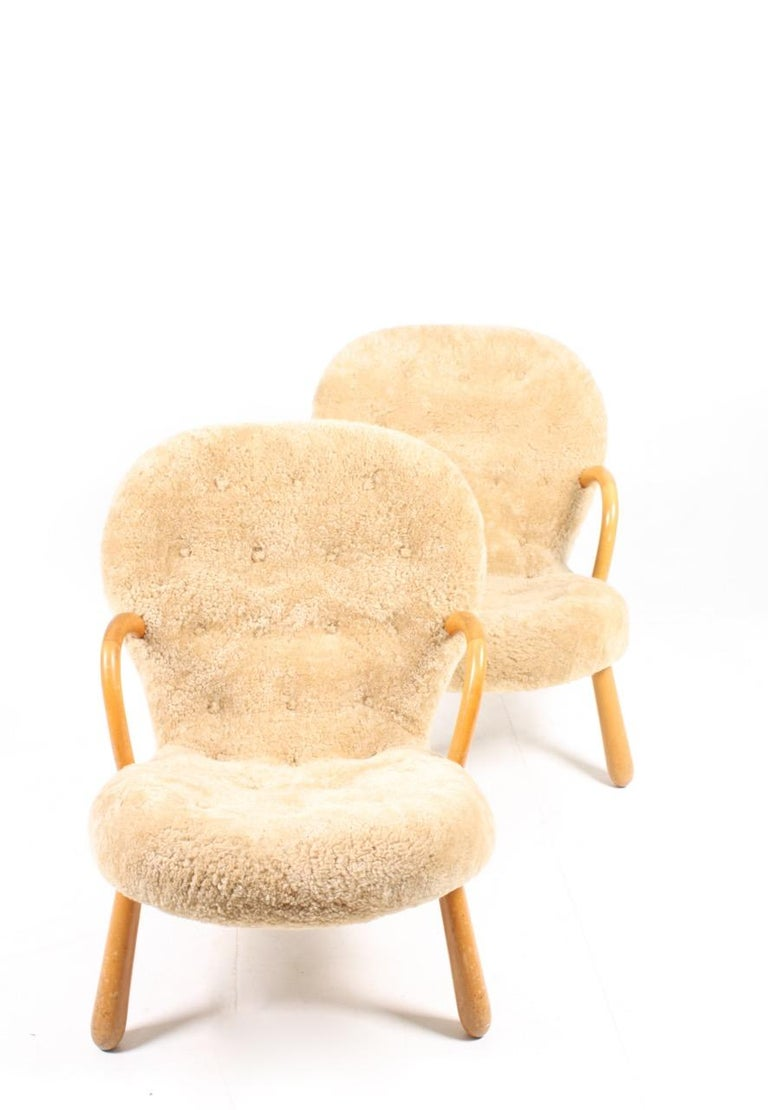 Pair of Vintage Clam Chairs by Philip Arctander, Danish modern 1940s 1