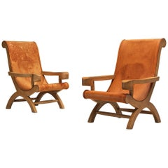 Pair of Clara Porset Lounge Chairs 'Butaque' in Original Patinated Leather
