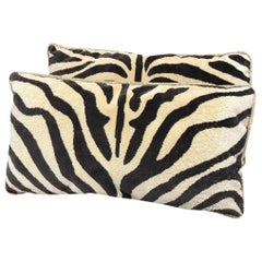 Pair of Clarence House Zebra and Rose Tarlow Silk Velvet Pillows