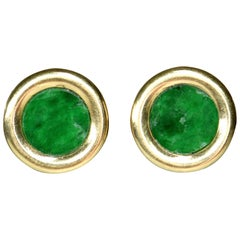Pair of Classic 18 Karat Gold Natural Jade Disc Earrings