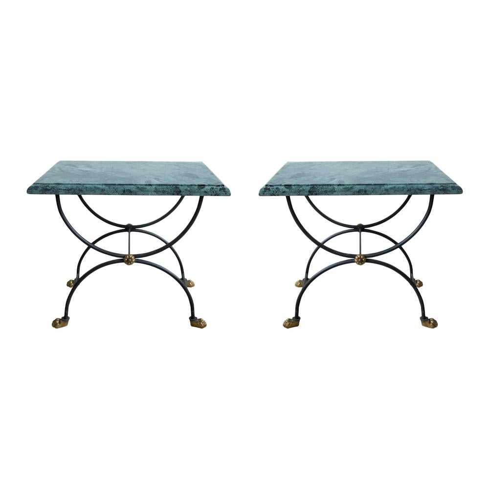 Pair of Classic 1950 Side Tables, Green Marble Top on Wrought Iron Structure