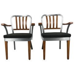 Pair of Classic Aluminum and Maple Armchairs by Shaw Walker 1940s Industrial