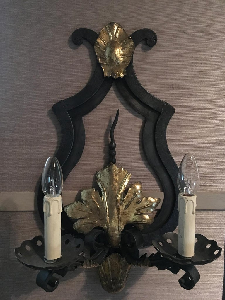 France Pair of Wrought Iron and Antique Gold Patinated Wall Lights  For Sale 8