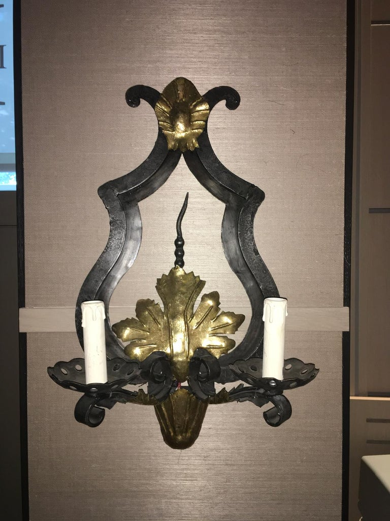 French Provincial France Pair of Wrought Iron and Antique Gold Patinated Wall Lights  For Sale
