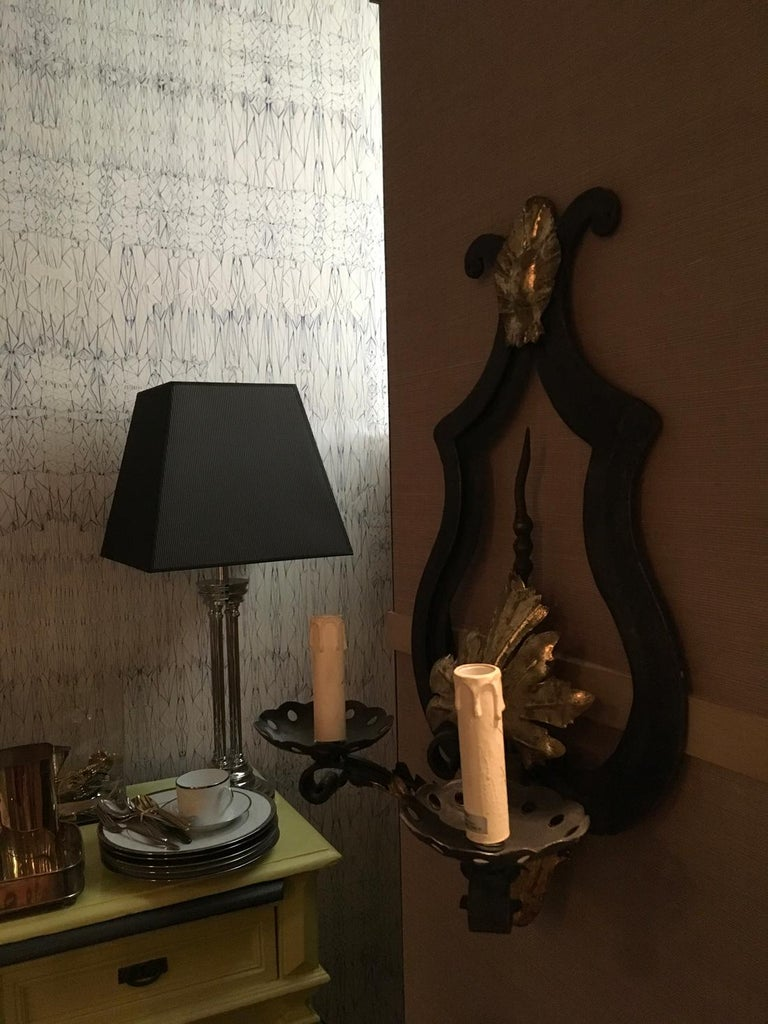 French France Pair of Wrought Iron and Antique Gold Patinated Wall Lights  For Sale