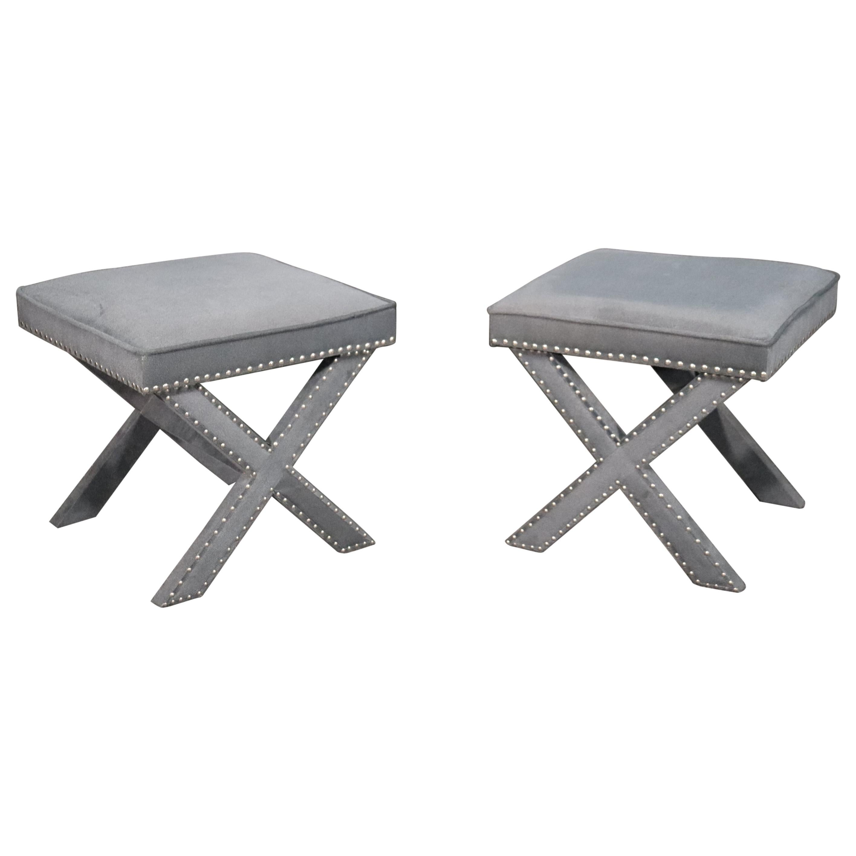 Pair of Classic Contemporary Dorothy Draper Style X Form Benches Stools
