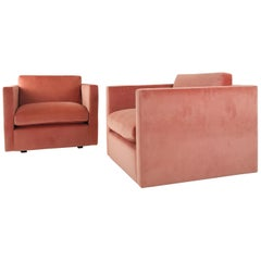Pair of Classic Cube Chairs in the Style of Milo Baughman