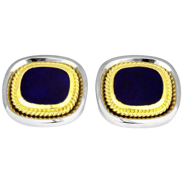 Pair of Classic Cufflinks with Lapis Lazuli in Bimetal 18K White and Yellow Gold For Sale
