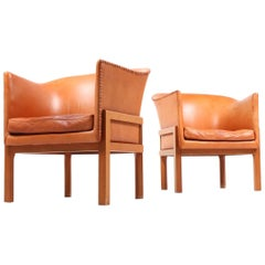 Pair of Classic Danish Lounge Chairs by Mogens Koch for Rud Rasmussen, 1930s