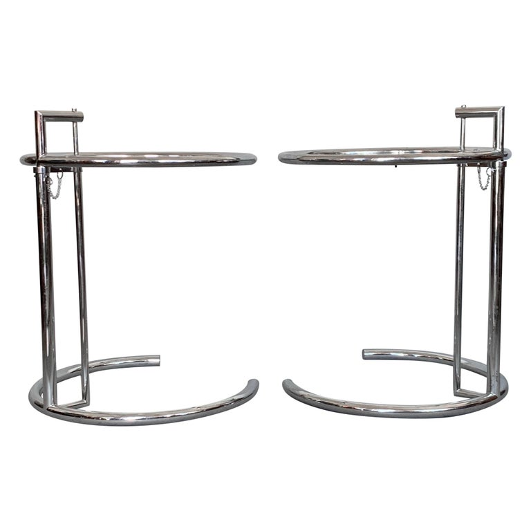 Pair of Classic Eileen Gray Chrome Tables with Adjustable Tops For Sale