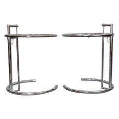 Pair of Classic Eileen Gray Chrome Tables with Adjustable Tops