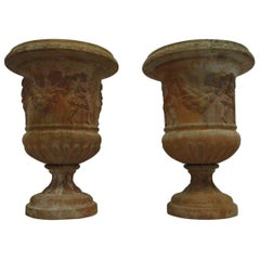 Pair of Classic Garden Vases 'Jardinières' Fired Clay, 20th Century