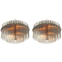 Pair of Classic Glass Rod Chandelier from Lightolier, 1980s, USA