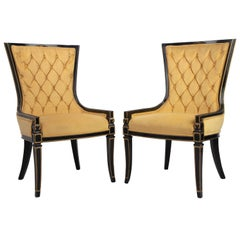 Pair of Classic Greek Vintage Gold Velvet, Gold Trimmed, Black Lacqered Chairs