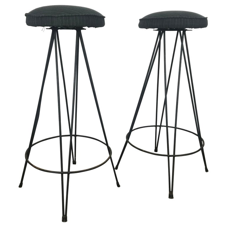 Pair of Classic Mid-Century Modern Iron Bar/Counter Stools by Frederick Weinberg