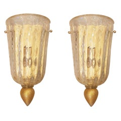 Pair Mid-Century Modern Clear & Gold Murano Glass Sconces, Barovier Style Italy