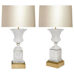 Pair of Classic Urn form Rock Crystal Lamps