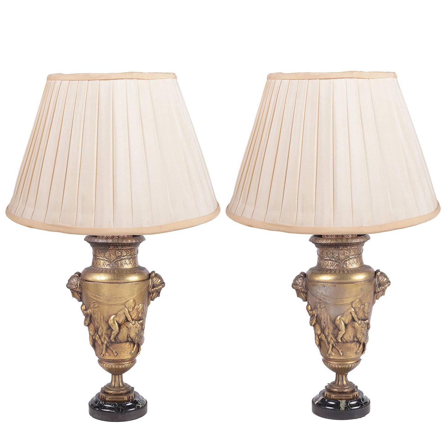 Pair of Classical 19th Century Bronze Lamps