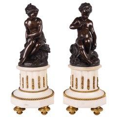 Pair of Classical, 19th Century Bronze Putti
