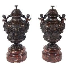 Pair of Classical 19th Century Bronze Urns