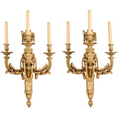 Pair of Classical 19th Century Louis XVI Style Ormolu Wall Lights