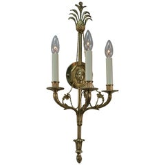 Pair of Classical Design Bronze Wall Sconces