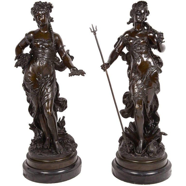 Pair of Classical Female Bronze Statues by H. Moreau