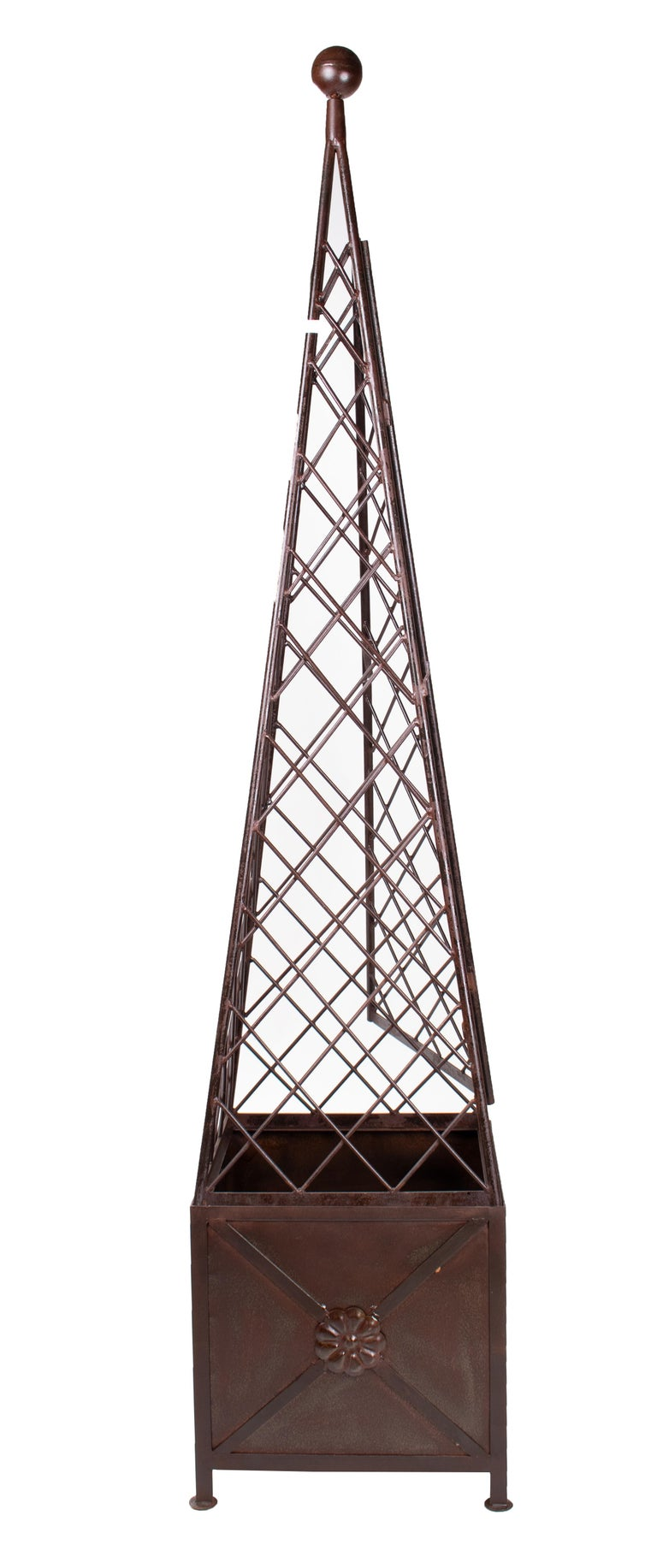 Pair of classical French style iron obelisks with base.