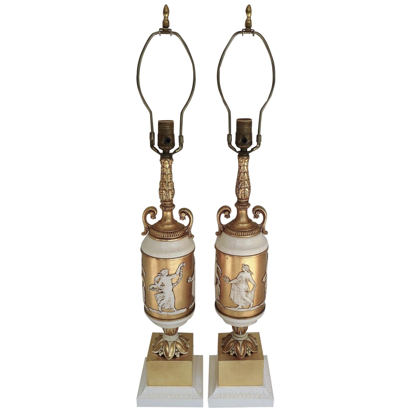 Pair of Classical Gilt and Enamel Urn Form Table Lamps