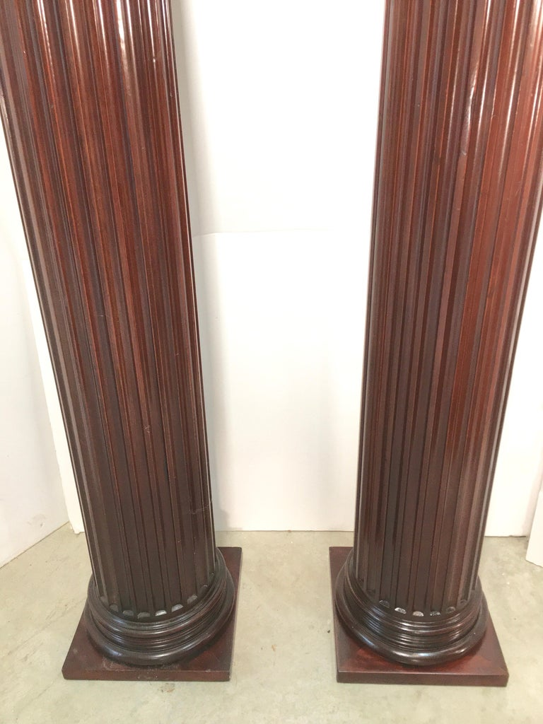 Pair of Classical Mahogany Fluted Columns For Sale 4