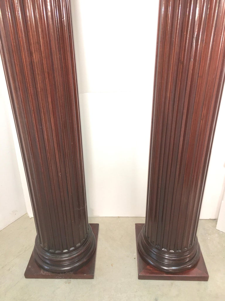 Pair of Classical Mahogany Fluted Columns For Sale 5
