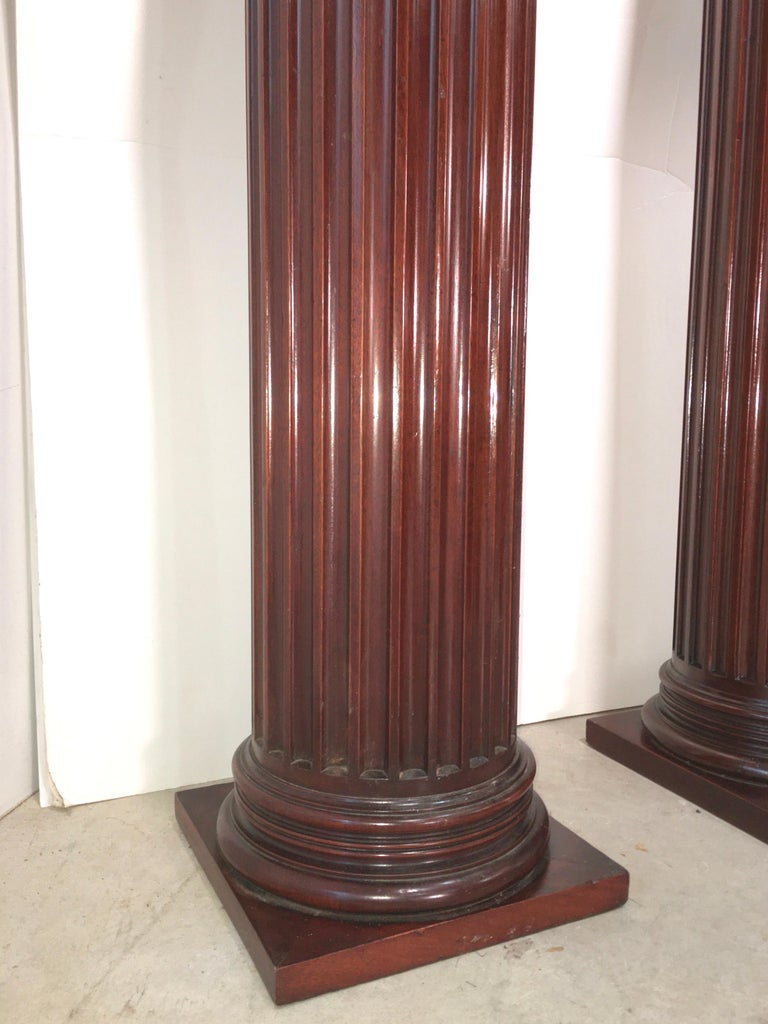 Pair of Classical Mahogany Fluted Columns For Sale 10